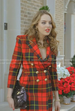 Fallon's red plaid blazer dress on Dynasty