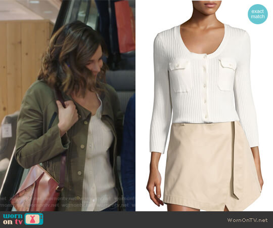 Rib Patch Pocket Cotton Sweater by Frame worn by Betsy Brandt on Life in Pieces