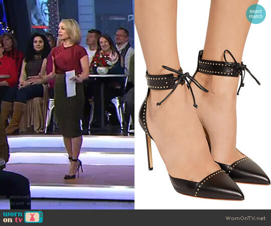 Studded leather pumps by Francesco Russo worn by Amy Robach on Good Morning America