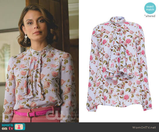 Ruffle-Front Floral Print Blouse by Francesco Scognamiglio worn by Nathalie Kelley on Dynasty
