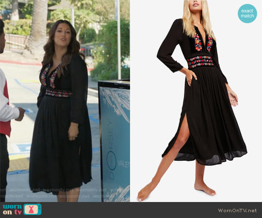 Embroidered Midi Dress by Free People worn by Angelique Cabral on Life in Pieces