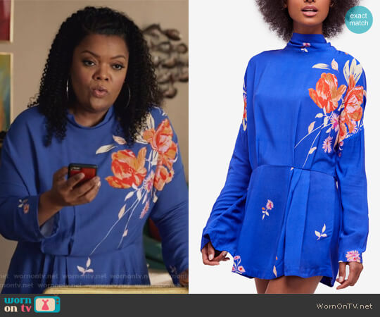 Gemma Printed Mock-Neck Tunic by Free People worn by Yvette Nicole Brown on The Mayor