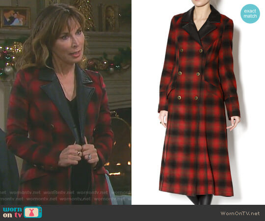 Duster Buffalo Plaid by Free People worn by Lauren Koslow on Days of our Lives