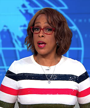 Gayle's multi-color striped sequined top on CBS This Morning