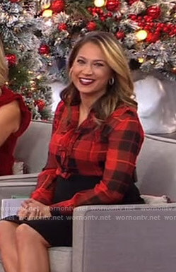 Ginger's red plaid ruffled blouse on Good Morning America