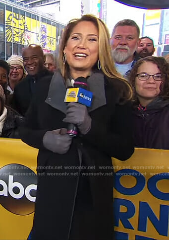 Ginger's black and grey maternity coat on Good Morning America