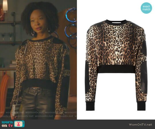 Leather Panel Cropped Jumper by Givenchy worn by Monica Colby (Wakeema Hollis) on Dynasty