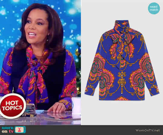 70s Graphic Print Silk Shirt by Gucci worn by Sunny Hostin  on The View