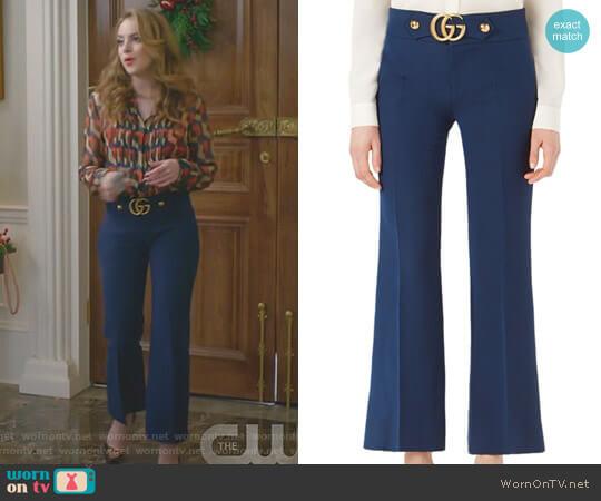 GG-Detail Wool & Silk Flare Pants by Gucci worn by Fallon Carrington (Elizabeth Gillies) on Dynasty