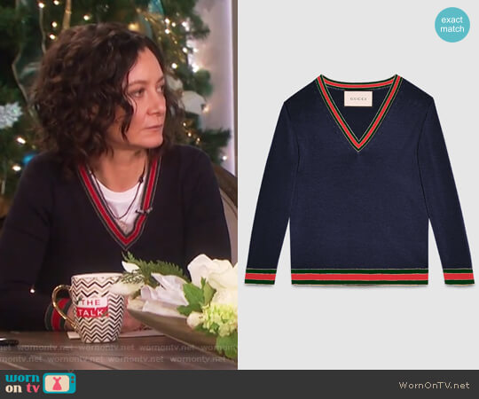 Merino wool knitted top by Gucci worn by Sara Gilbert on The Talk