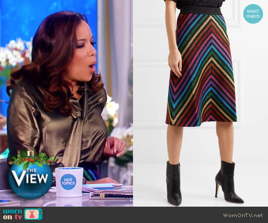 Metallic striped stretch-knit midi skirt by Gucci worn by Sunny Hostin  on The View