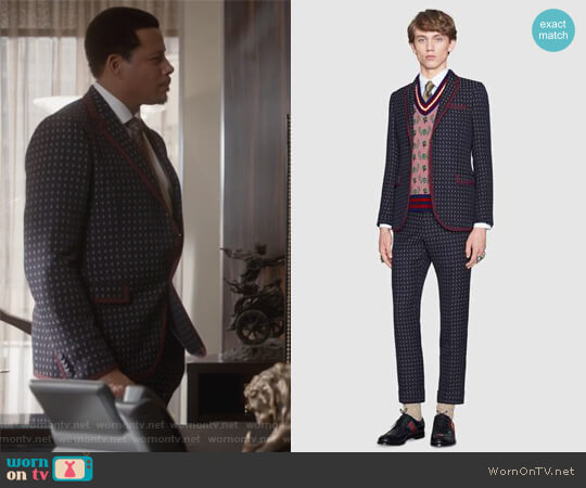 Monaco geometric pattern wool suit by Gucci worn by Lucious Lyon (Terrence Howard) on Empire