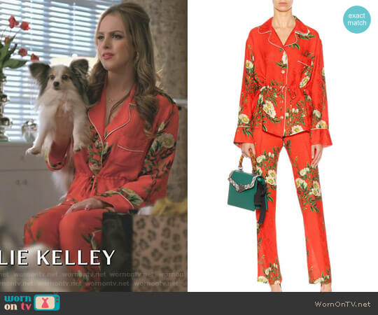 Silk Pajama by Gucci worn by Elizabeth Gillies on Dynasty