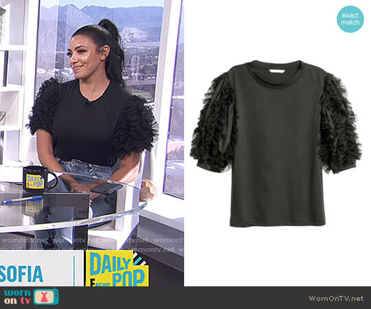 Top with Mesh Ruffles by H&M worn by Julissa Bermudez on E! News