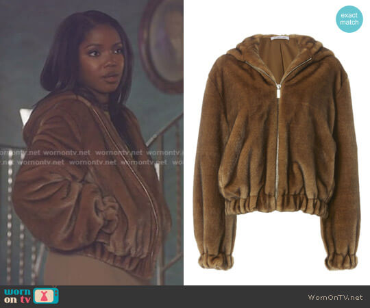 Faux Fur Hooded Bomber Jacket by Helmut Lang worn by Ryan Destiny on Star