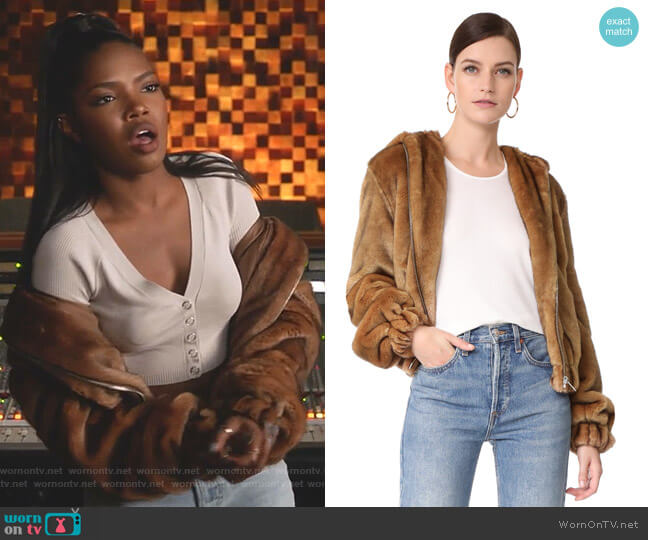 Faux Fur Hooded Bomber Jacket by Helmut Lang worn by Alexandra Crane (Ryan Destiny) on Star