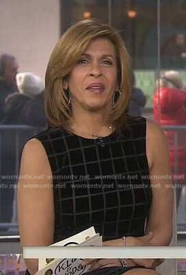 Hoda's black windowpane checked sleeveless dress on Today