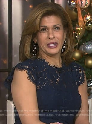 Hoda's navy lace sheath dress on Today