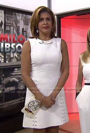Hoda's white lace-up cutout dress on Today