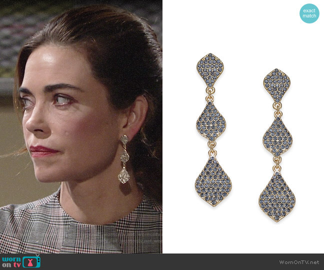 INC International Concepts Gold-Tone Crystal Triple Drop Earrings worn by Victoria Newman (Amelia Heinle) on The Young & the Restless