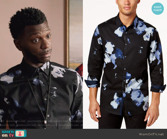 Men's Abstract Floral Shirt by INC International Concepts worn by Jermaine Leforge (Bernard David Jones) on The Mayor