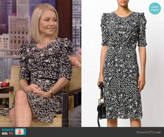 Floral and Geometric Print Ruched Dress by Isabel Marant worn by Kelly Ripa  on Live with Kelly & Ryan