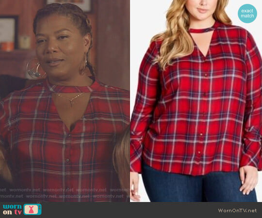 Trendy Plaid Choker Blouse by Jessica Simpson worn by Carlotta Brown (Queen Latifah) on Star