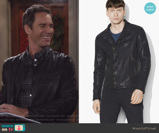 Leather Motocross Jacket by John Varvatos worn by Eric McCormack on Will & Grace