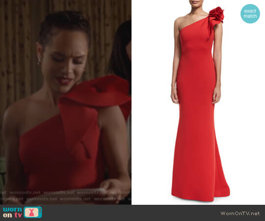 One-Shoulder Ruffle-Trim Mermaid Gown by Jovani worn by Grace Gealey on Empire