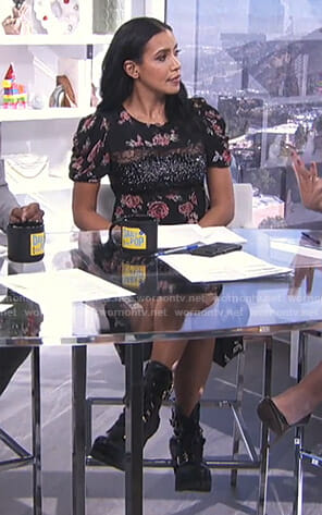 Julissa Bermudez's black floral lace inset dress on E! News Daily Pop