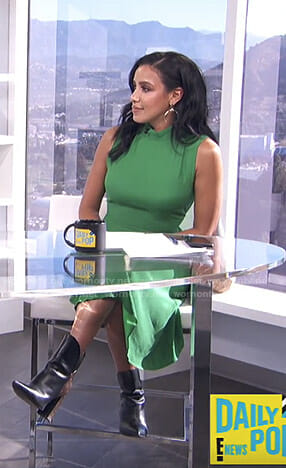 Julissa Bermudez's green asymmetric hem dress on E! News Daily Pop