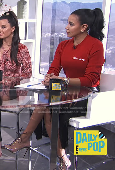 Julissa Bermudez's red have a nice day sweater on E! News Daily Pop