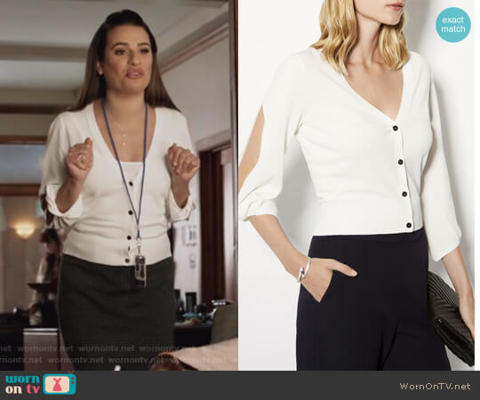 Volume Twist Sleeve Cardigan by Karen Millen worn by Lea Michele on The Mayor