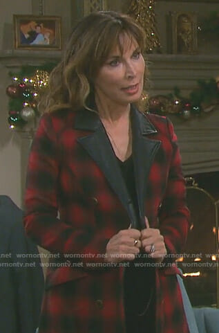 Kate's black and red buffalo coat on Days of our Lives