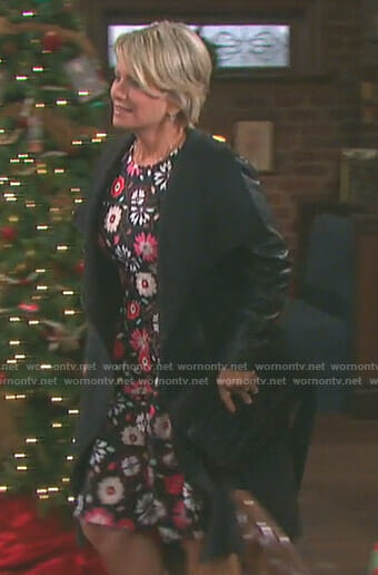 Kayla's black floral dress on Days of our Lives