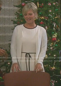 Kayla's white bow waist dress on Days of our Lives