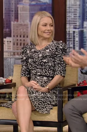 Kelly's black floral ruched sleeve dress on Live with Kelly and Ryan