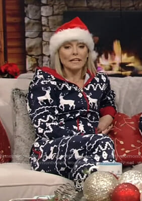 Kelly's blue reindeer christmas onesie pajamas on Live with Kelly and Ryan