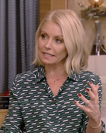 Kelly's green printed blouse on Live with Kelly and Ryan
