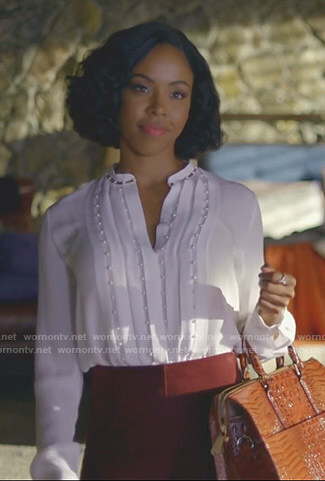 Kori Rucks's white pleated blouse with pearls on Dynasty
