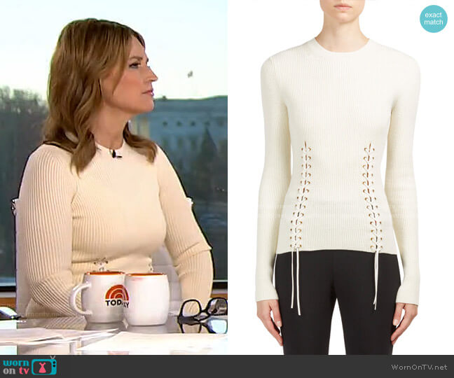 Lace-Up Crewneck Pullover by Alexander McQueen worn by Savannah Guthrie  on Today