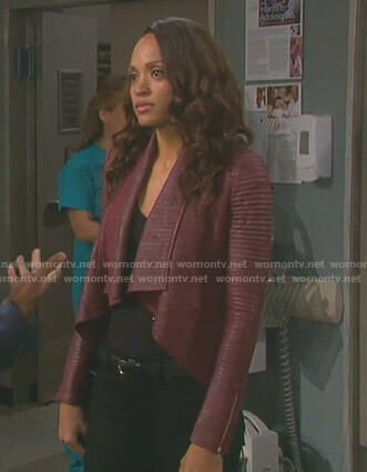 Lani's red pleated jacket on Days of our Lives