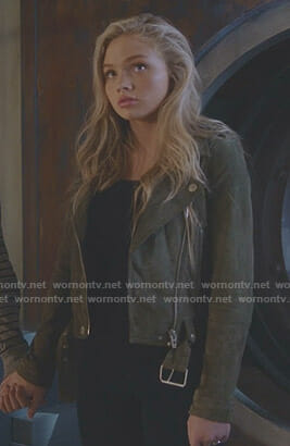 Lauren's green suede moto jacket on The Gifted