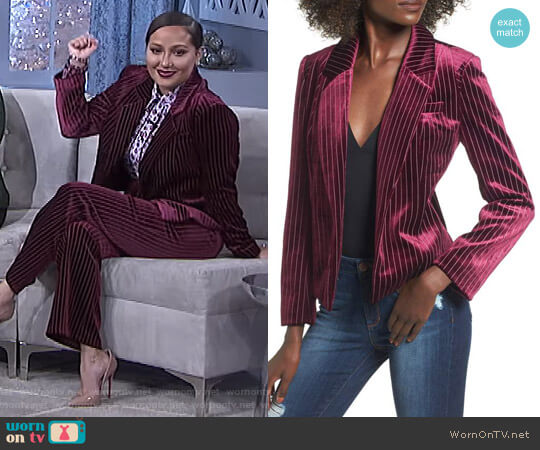 Stripe Velour Blazer by Leith worn by Adrienne Houghton (Adrienne Houghton) on The Real