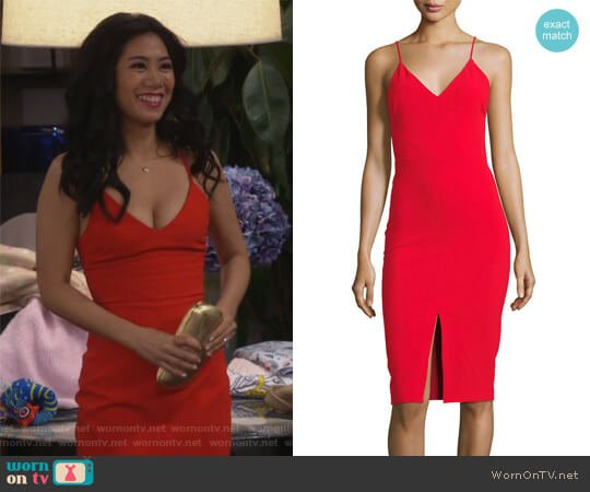 Brooklyn Slit-Front Slip Dress by Likely worn by Liza Lapira on 9JKL