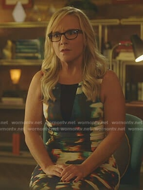 Linda's printed sheath dress on Lucifer