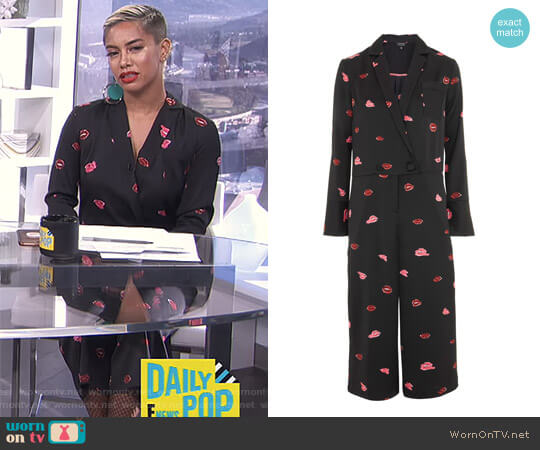 Lips Print Pyjama Jumpsuit by Topshop worn by Sibley Scoles on E! News