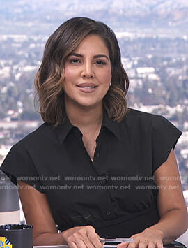 Liz Hernandez's black short sleeve button down top on E! News Daily Pop