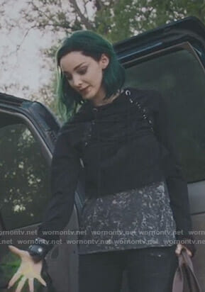 Lorna's black cropped lace-up hoodie on The Gifted