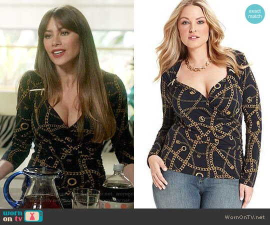 MICHAEL Michael Kors Long-Sleeve Printed Faux-Wrap Zip Top worn by  Gloria Pritchett (Sofia Vergara) on Modern Family